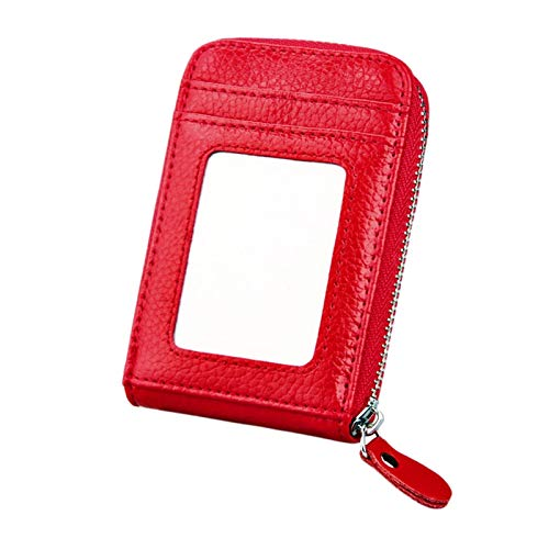Cartera para tarjetas con bloqueo RFID, bolsa de piel de vacuno genuina con cremallera vertical, tamaño: 11,5 x 7,5 cm PingGongHuaKeJiYouXianGongSi (color: rojo)