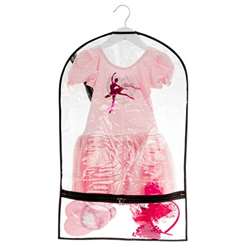 Bags For Less Small Clear Dance Costume Garment Bag for Kids with Durable Diagonal Zipper 18 inch x 29 inch Transparent Travel Storage Accessory Pockets