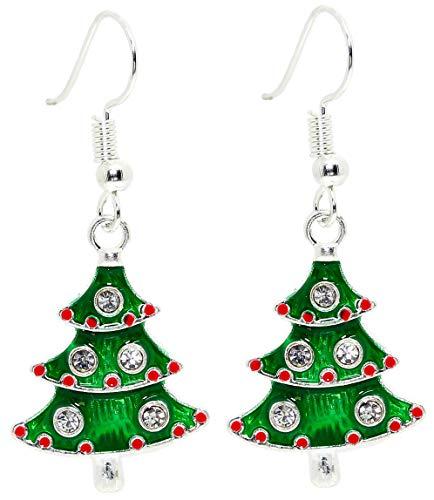 Bluebubble MERRY CHRISTMAS Green Diamante Tree Dangle Earrings Gift Boxed
