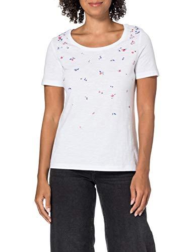 edc by ESPRIT Damen 031CC1K304 T-Shirt, 100/WHITE, S