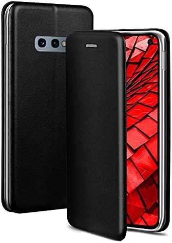 ONEFLOW Handyhülle kompatibel mit Samsung Galaxy S10e - Hülle klappbar, Handytasche mit Kartenfach, Flip Hülle Call Funktion, Leder Optik Klapphülle mit Silikon Bumper, Schwarz