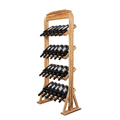 DlandHome Botellero para 24 Botellas de Vino Botellero de Madera con Portavaso