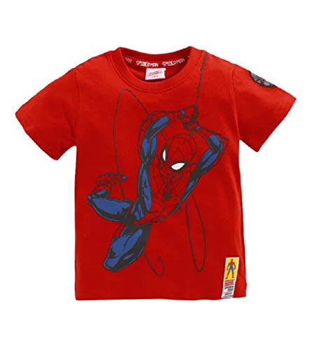 Marvel Spiderman Boys Tshirt with HD Print in Spiderman Outline Red Blue