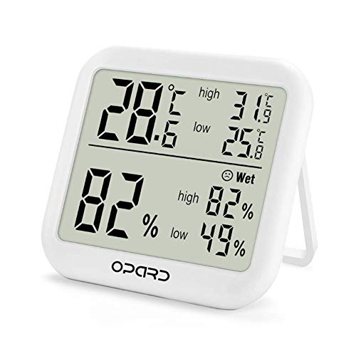 Opard digitales Thermometer Hygrometer innen,Raumthermometer,Thermo Hygrometer,Hydrometer Feuchtigkeit,Zimmerthermometer,luftfeuchtigkeitsmessgerät, Temperatur und luftfeuchtigkeitsmesser (Weiß)