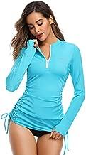 HISKYWIN Women's Long Sleeve UV Sun Protection Rash Guard Side Adjustable Wetsuit Swimsuit Top HF805-Blue-S