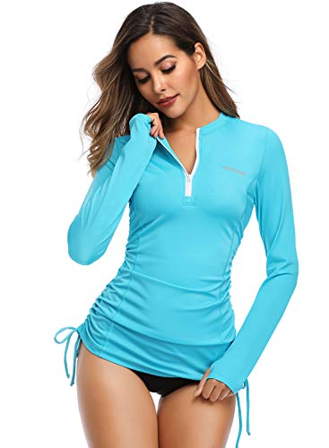 HISKYWIN Women's Long Sleeve UV Sun Protection Rash Guard Side Adjustable Wetsuit Swimsuit Top HF805-Blue-L