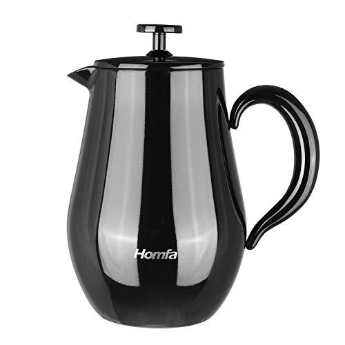 Homfa French Press 1 Liter Dubbelwandig Thee-Apparaat met Opwarmfunctie Roestvrijstalen Koffiepot Franse Zwarte Koffiepers