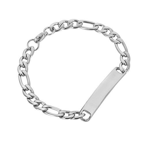 HooAMI Gepersonaliseerde RVS Figaro Link Ketting ID Armbanden Lengte 21cm - Gratis Graveren