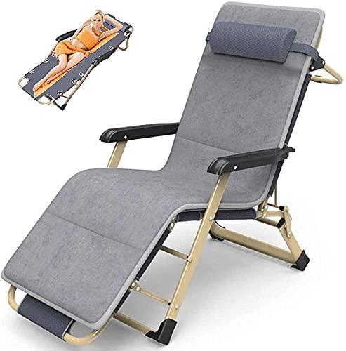 JAKWBR Silla reclinable de gran tamaño, silla de gravedad cero tumbonas de jardín, tumbonas de playa, con cojín suave desmontable y reposacabezas, carga hasta 600 libras