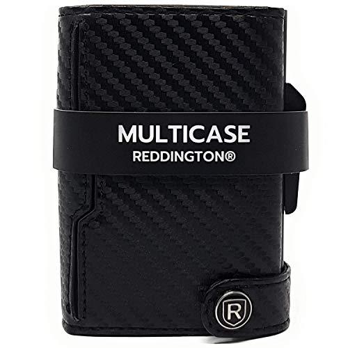 Reddington® Multicase Kreditkartenetui mit Geldklammer und Münzfach - RFID Schutz - Slim Wallet Aluminium, Kartenetui, Kreditkarten Etuis, Geldbeutel - bis 11 Karten (Carbon)