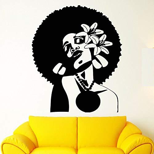 wopiaol Black Lady Tatuajes de Pared Mujer Africana Peinado Flores Vinilo Ventana Pegatinas Belleza Peluquería Moda Chica Habitación Decoración para el hogar