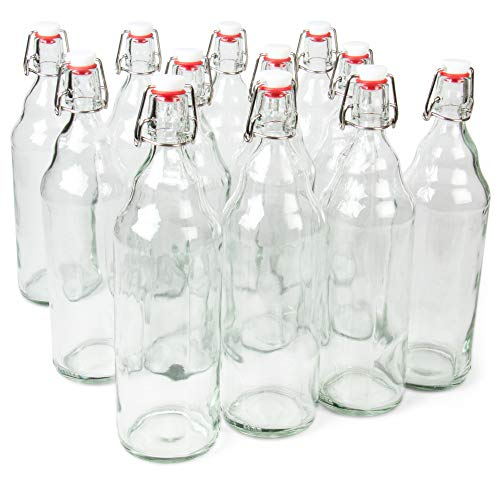 33 oz. Clear Glass Grolsch Beer Bottles, Quart Size – Airtight Seal with Swing Top/Flip Top - Supplies for Home Brewing & Fermenting of Alcohol, Kombucha Tea, Wine, Homemade Soda (12-pack)