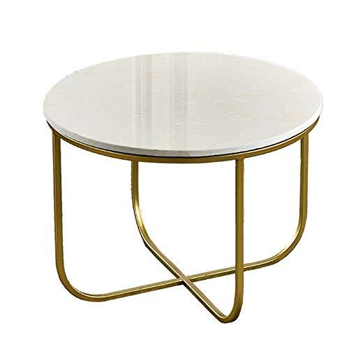 AI LI WEI Household Products/Furniture Mesa Auxiliar nórdica mármol Sofá Mesa Lateral del Arte del Hierro Mesa de Esquina Escritorio de la Tabla del Ordenador portátil, Blanco + Oro, 21.6 '', 16.5 ''