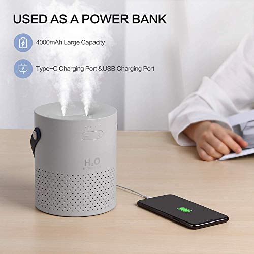 SmartDevil Humidificador 1100 ml, humidificador Recargable portátil con batería de 4000 mAh, Funciones de luz Nocturna, Apagado automático para Dormitorio, Oficina, hogar, Aceite Esencial Prohibido