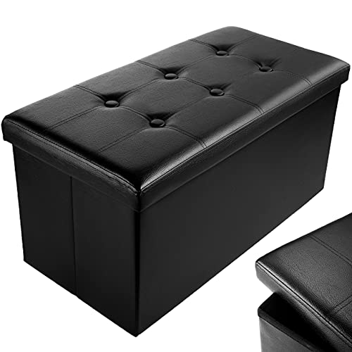 Nyxi Faux Leather 76 * 38 * 38cm Black Ottoman Foldable Storage Boxes Seat Foot Stool Storage Box with Lids for Kids Toys, Bedroom, Hallway, Living Room
