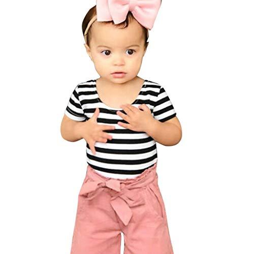 Julhold zomer kleine kinderen baby meisjes leuke gestreepte dunne T-shirt boog rechte broek 2 STUKS outfits set 0-4 jaar