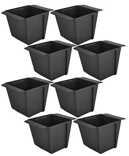 My-goodbuy24 Pflanzkasten für Paletten - 8 Stück Eckig - Blumenkästen Kunststoff Einsatz für Europlatten Deko Garten Pflanzschale - anthrazit