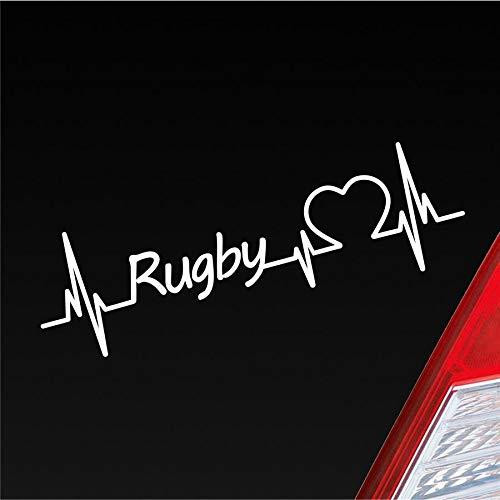 Hellweg Druckerei Auto Aufkleber Rugby Herzschlag Wettkampf Team Ballsport Sport Sticker Liebe Weiß Matt