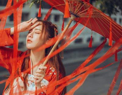 XKMY Paraguas de papel de aceite hecho a mano con tela de encaje para mujer, disfraz de fotografía, accesorios con borlas, paraguas de papel de aceite clásico chino (color: 76 cm rojo D)