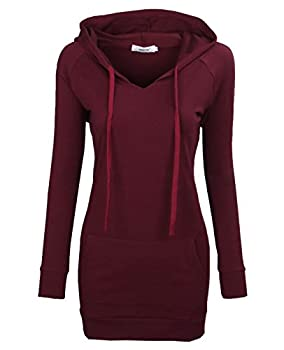 BEPEI Hoodies for Women,Fashion V Neck Pocket Jersey Shirt Fall Trend Dressy Blouses Long Sleeve Drawstrings Sweatshirts Comfy A Line Tunic Top 2021 Oversized Plus Size Wine 2XL
