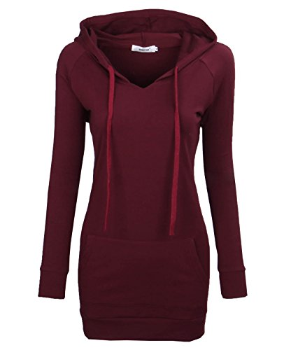 BEPEI Long Sleeve Tops for Women,Misses Classic Blouses Winter Elastic Warm Sporty Cool Hoodies Blouson Full Sleeve Round Neck Tunic Shirt Wine S