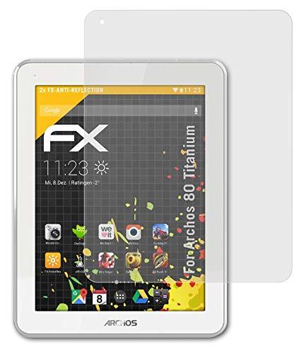 atFolix Panzerfolie kompatibel mit Archos 80 Titanium Schutzfolie, entspiegelnde & stoßdämpfende FX Folie (2X)