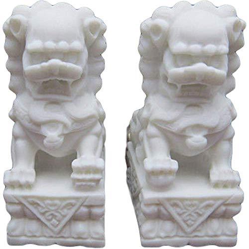 LEILEI Feng Shui Wealth Porsperity Par de estatuas de Perros Beijing Fu Foo Jade de mármol Blanco,protección contra la energía maligna,Figura Decorativa de Feng Shui