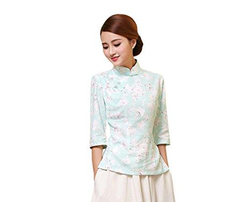 YueLian Damen Sommer Tang-Anzug, chinesische Modifizierte Qipao Tops Bluse Shirts Gr. Large, Mehrfarbig 6