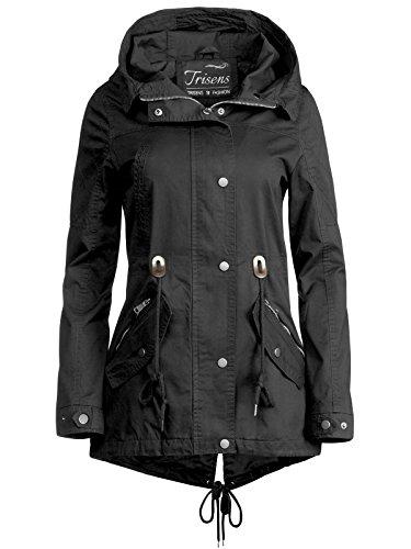 Trisens Damen Jacke ÜBERGANGSJACKE Trenchcoat Kapuze 100% Baumwolle LEICHT KURZ, Farbe:Schwarz, Größe:M