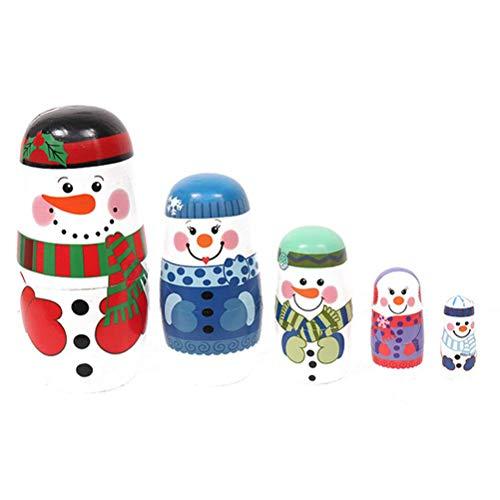 Holz Nesting Dolls 5 Stück Weihnachten Schneemann Matroschka Holz Spielzeug Russische Puppen Klassische Babuschka Handmade Geschenk