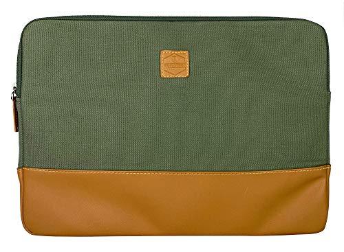 Kuratist Funda para portátil n.º 2 de 13,5' compatible con MacBook Air de 13 a 13,5' (2015 a partir de 2019) – Hecho a mano en lona de algodón (100% vegano) (Pine (verde/marrón)