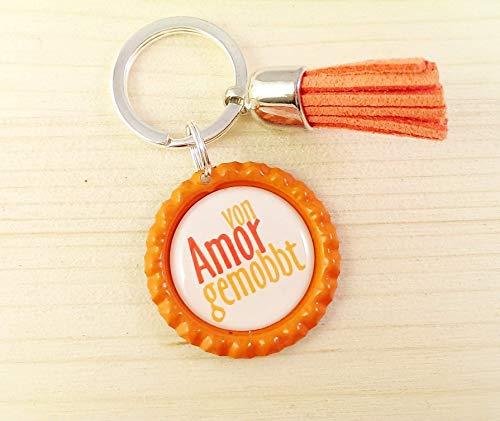 Schlüsselanhänger Kronkorken – von Amor gemobbt & Quaste/Tassel – verschiedene Farben - Individualisierbar – Handmade