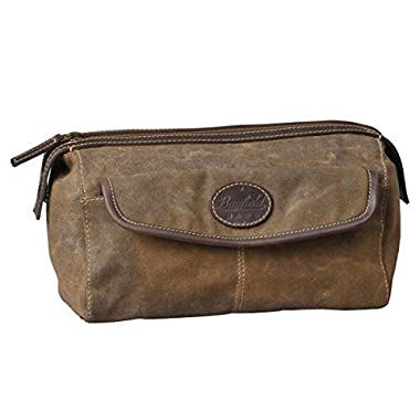 Men's Canvas Leather Toiletry Bag - Bayfield Bags - Vintage Retro-Look Waxed Canvas Large (12x7x7) Travel Dopp Bag