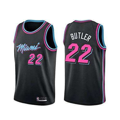 canottejerseyNBA Jimmy Butler - Miami Heat #22, Basket Jersey Maglia Canotta, Swingman Ricamata, Abbigliamento Sportivo (L, Nero City Edition '19)