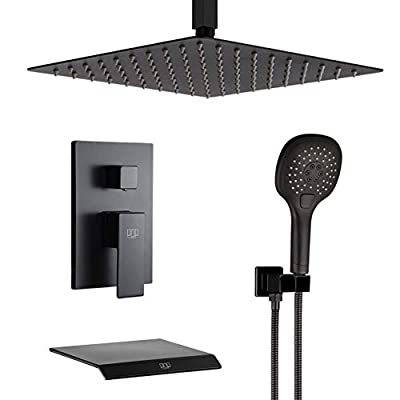 Black Shower System Bathroom Shower Faucet Set with Waterfall Tub Spout Ceiling Mount 12 Inch Shower Head and Handle Set with Handheld, 3 Function Tub and Shower Trim Kit with Rough-in Valve