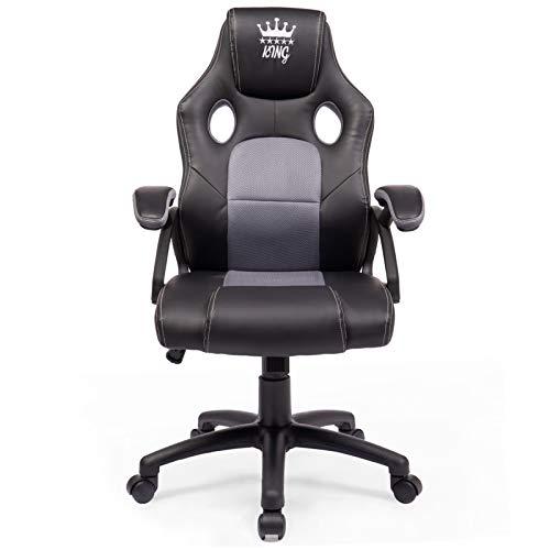MIDORI® Racing Stuhl mit hoher Rückenlehne | Ergonomischer Gaming Stuhl aus PU Leder mit Mesh-Einsatz | Bürostuhl mit Sportsitz | Drehstuhl aus Kunstleder mit Dicker Polsterung in Schwarz/Grau