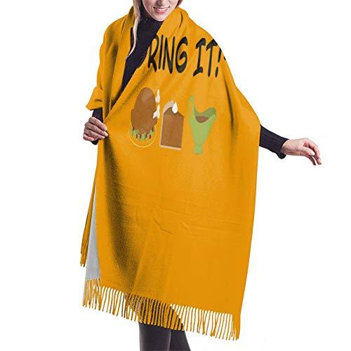 Vcxbsdvbd Thanksgiving Dinnerfashion Cashmere Big Shawl Winter Thick Warm Scarf Blanket 77'X 27