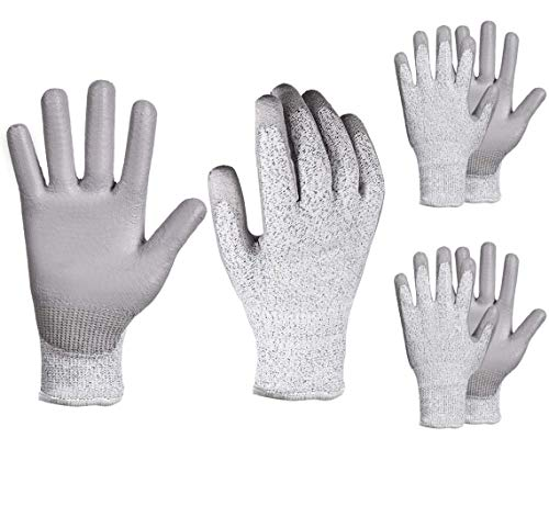 YSBER 3 Pairs Gardening Gloves for Women and Men Wear-resistant PU Coated Anti-cut Gloves with...