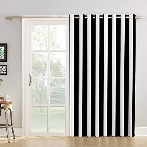 """Futuregrace Blackout Curtains Black and White Stripe Pattern Livingroom Bedroom Darkening Window Draperies & Curtains for Sliding Glass Door Home Office Decor 52"""" W by 72"""" L"""