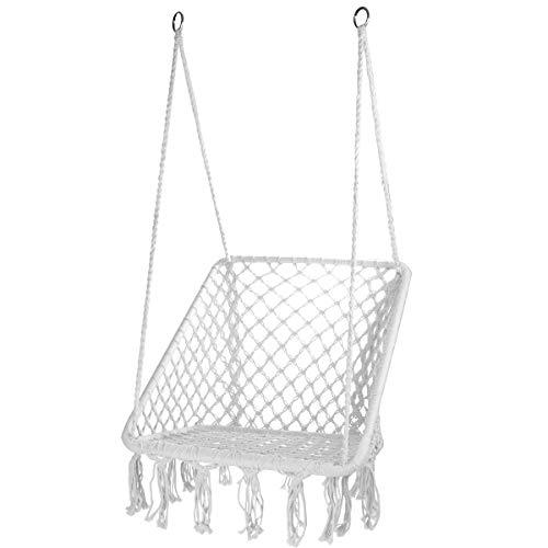 CCTRO Hammock Chair Macrame Swing,Boho Style Rattan Chair Hanging Macrame Hammock Swing Chairs for Indoor/Outdoor Home Patio Porch Yard Garden Deck,265 Pound Capacity (S White)