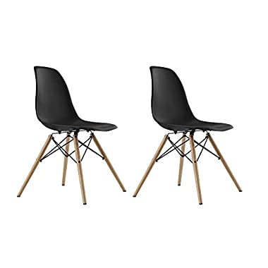 DHP Mid Century Modern Chair with Wood Legs, Set of Two, Lightweight, Black