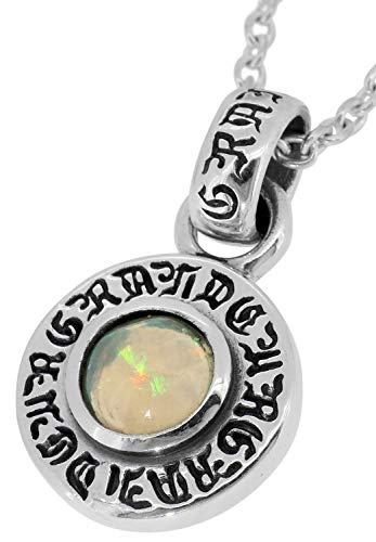 [グランデュアー]GRAN DEUR エチオピアンオパール コイン シルバー 925 ネックレス (チェーン付き) メンズ 天然石 誕生石