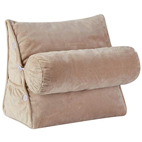 Cheer Collection Wedge Shaped Back Support Pillow and Bed Rest Cushion for Reading, Gaming, Watching - with Adjustable Neck Pillow, Taupe