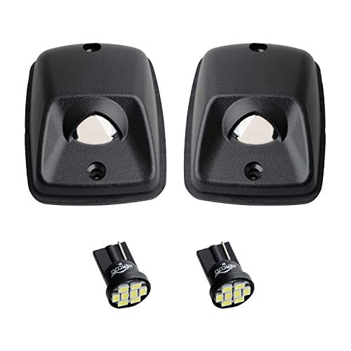 HERCOO LED License Plate Light Lamp Lens White Bulbs Black Housing Compatible with 1995-2004 Toyota Tacoma Pickup Truck Rear Step Bumper Aftermarket Replacement, Pack of 2
