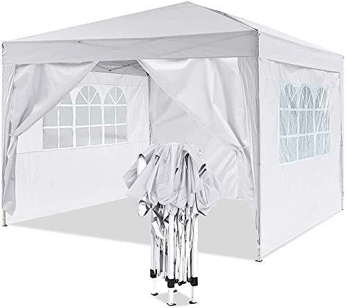 Gazebo emergente por un marco de metal robusto, pabellón pesado, adecuado para jardín, terraza, mercado de pulgas, boda, fiesta de cumpleaños,White-3x3m