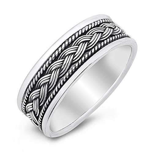 Ornate Celtic Knot Braid Unique Ring New .925 Sterling Silver Band Size 7