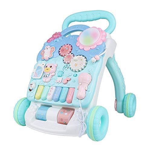 Första steget baby walker trycker på, barn aktivitet barnvagn med flera mönster, musik piano, stå och gå, lära sig leksak, intelligensutveckling