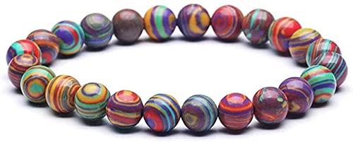 Cuentas de arte de piedras preciosas de la niña Pulsera de piedra Mujer, 7 chakra perlas de piedra natural brazalete elástico raya roja joyería semipreciosa yoga reza equilibrio balance encanto difuso
