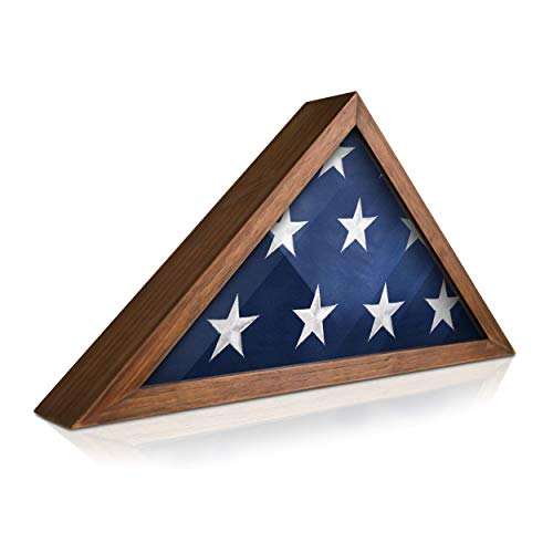 HBCY Creations Rustic Flag Case - Solid Wood Military Flag Display Case for 9.5 x 5 American Veteran Burial Flag, Wall Mounted Burial Flag Frame - Flag Shadow Box to Display Folded Flag(Rustic Brown)