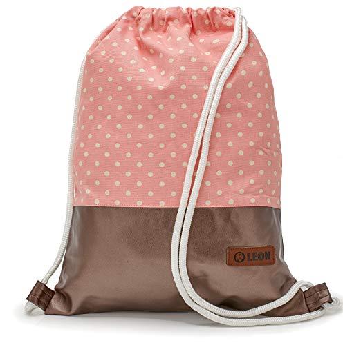 By Bers LEON Turnbeutel mit Innentaschen Rucksack Tasche Damen Herren & Teenager Gym bag Gym sack (kupfer_punktrosa)